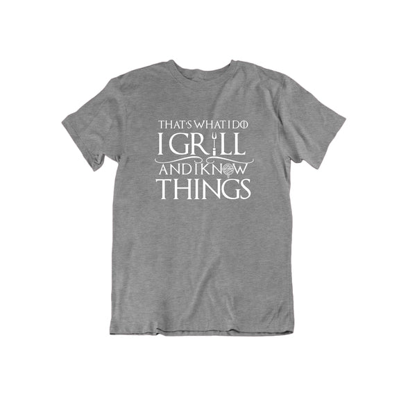 That's What I Do I Grill and I Know Things T Shirt-Sports Grey-Large-Daily Steals