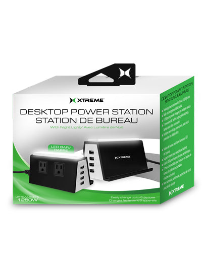 XTREME Desktop Power Station with 4 USB, 2 AC Outlets, and Nightlight-Black-Daily Steals