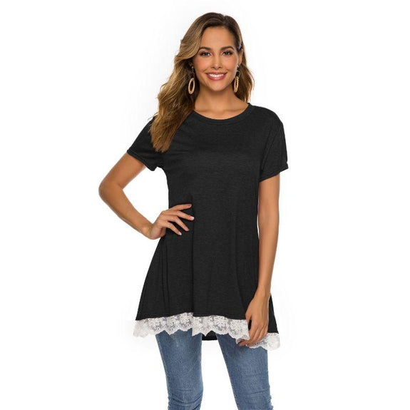 Women's Long Lace Trim Top by Lilly Posh-Black-2XL-Daily Steals
