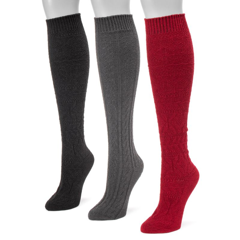 Women's Knee High Socks by Muk Luks - 3 Pack-Ebony-Daily Steals