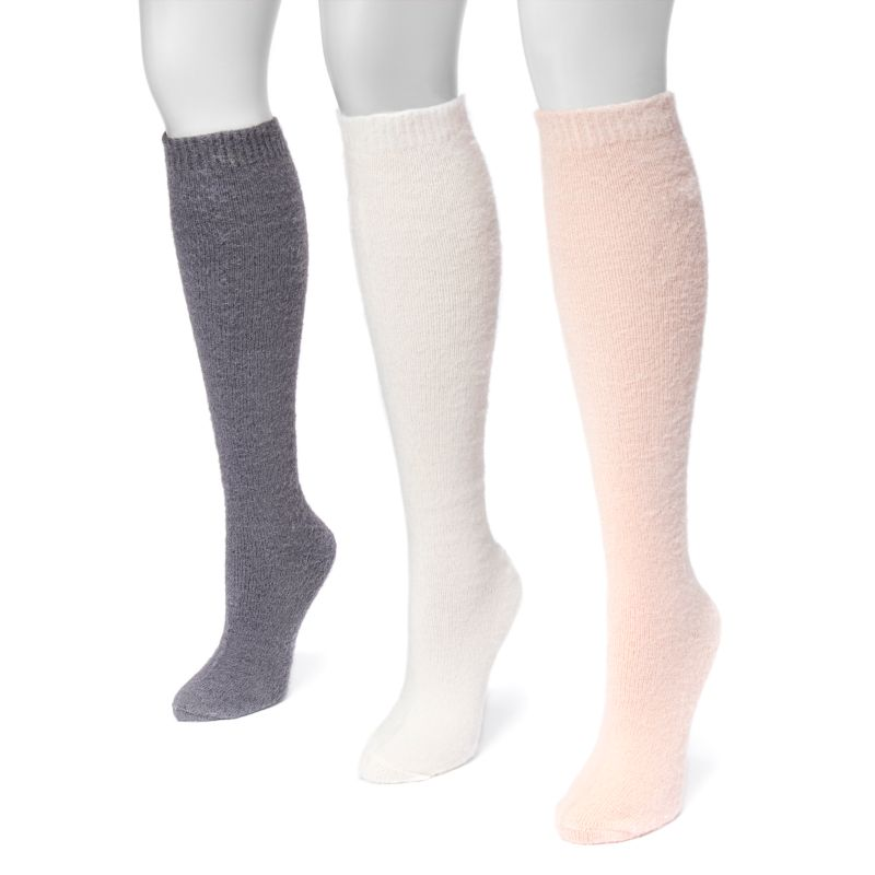 Women's Fuzzy Yarn Knee High Socks by Muk Luks - 3 Pack-Soft-Daily Steals