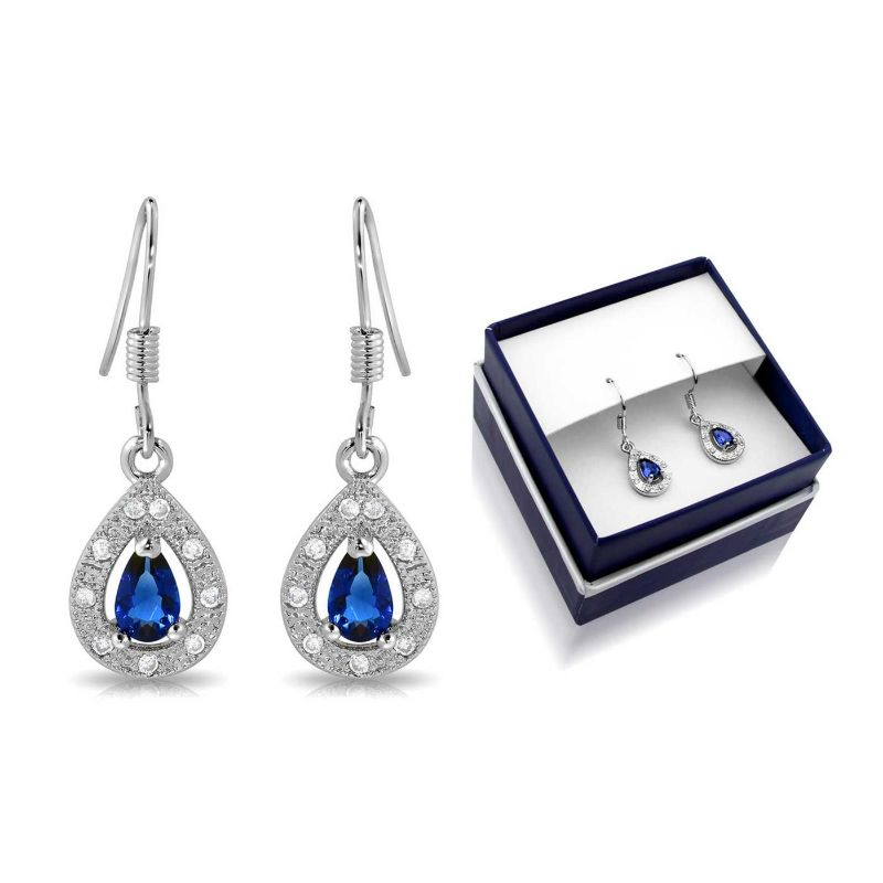 Created Blue Sapphire Pear Shape Hanging Earrings-Daily Steals