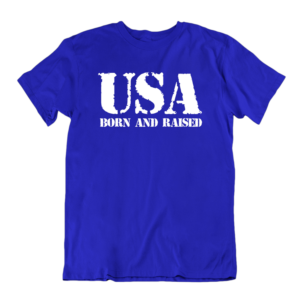 USA Born and Raised T Shirt-Royal Blue-Small-Daily Steals