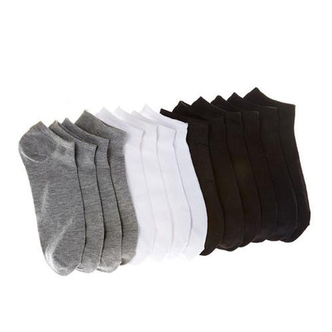 Daily Steals-Everlast Men's No-Show Socks - Black, White and Gray - 14 Pairs-Men's Accessories-