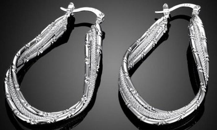 Daily Steals-Abstract Hoop Earrings in Sterling Silver-Jewelry-