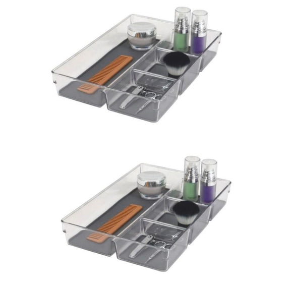 Acrylic Bathroom Organizer with Non-Slip Silicone Base - 2 or 4 Pack-2 Pack-Drawer Organizer - Large-