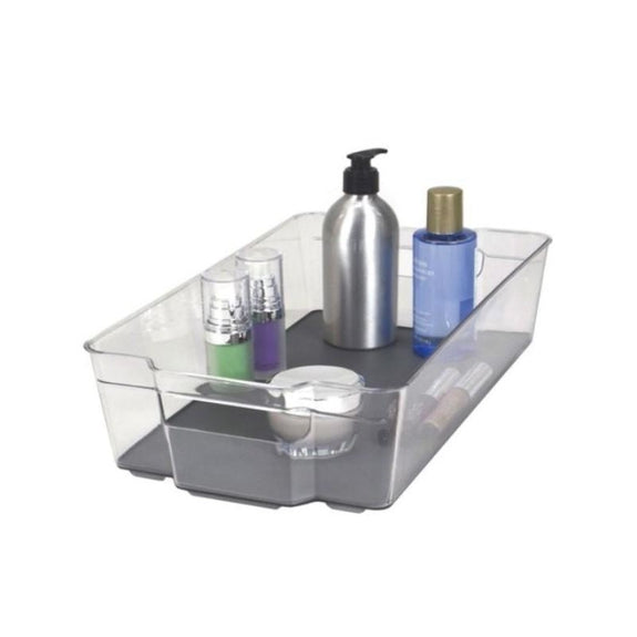 Acrylic Bathroom Organizer with Non-Slip Silicone Base - 2 or 4 Pack-2 Pack-Storage Bin - Medium-