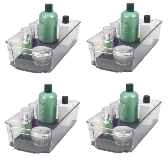 Acrylic Bathroom Organizer with Non-Slip Silicone Base - 2 or 4 Pack-4 Pack-Storage Bin - Medium-