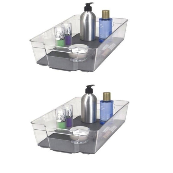 Acrylic Bathroom Organizer with Non-Slip Silicone Base - 2 or 4 Pack-2 Pack-Storage Bin - Large-