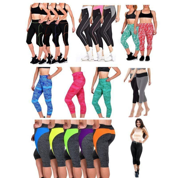Active Workout Capri 3/4 Leggings Assorted 2-Pack-S-