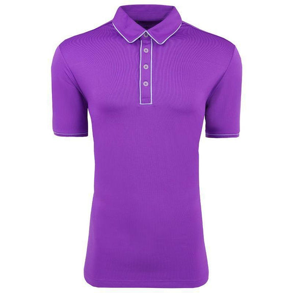 adidas Men's Puremotion Piped Polo-Vivid Purple-L-Daily Steals