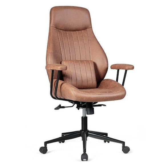 Adjustable Ergonomic High Back Office Chair with Lumbar Support-Deep Brown-