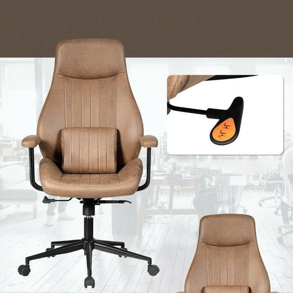 Adjustable Ergonomic High Back Office Chair with Lumbar Support-Brown-