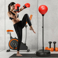 Adjustable Height Punching Bag with Stand and Boxing Gloves