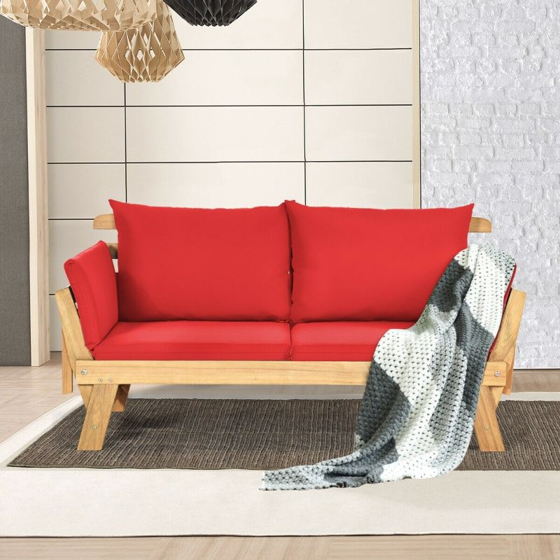 Adjustable Patio Convertible Sofa with Thick Cushion - Red-Daily Steals