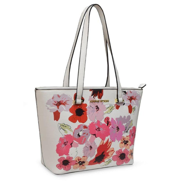 Adrienne Vittadini Handbags - Satchel, Crossbody Or Tote-White Floral Tote-