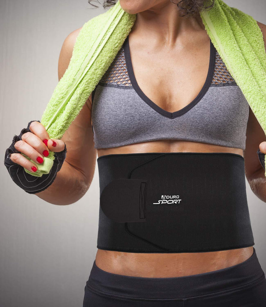 Daily Steals-Aduro Sport Sweat Waist Trimmer Belt - Black-Health and Beauty-