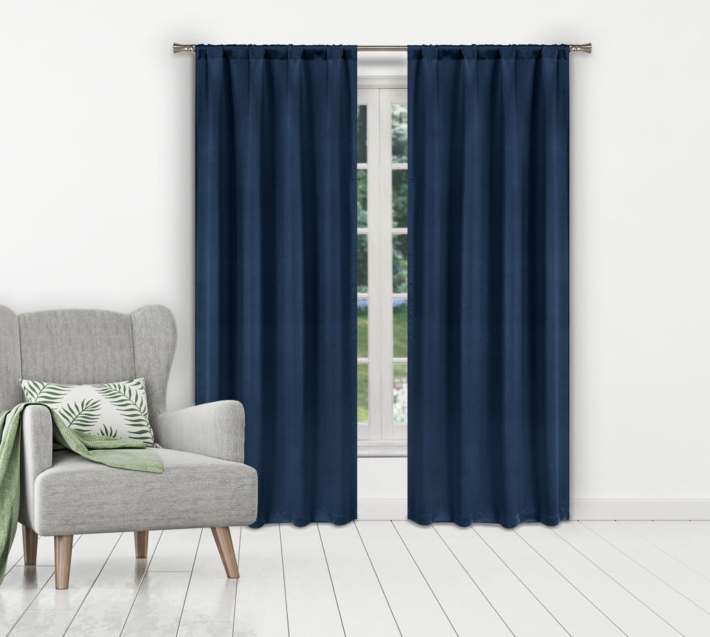 Solid Room-Darkening Double-Layered Window Panels (2-Pack)-Navy-Daily Steals