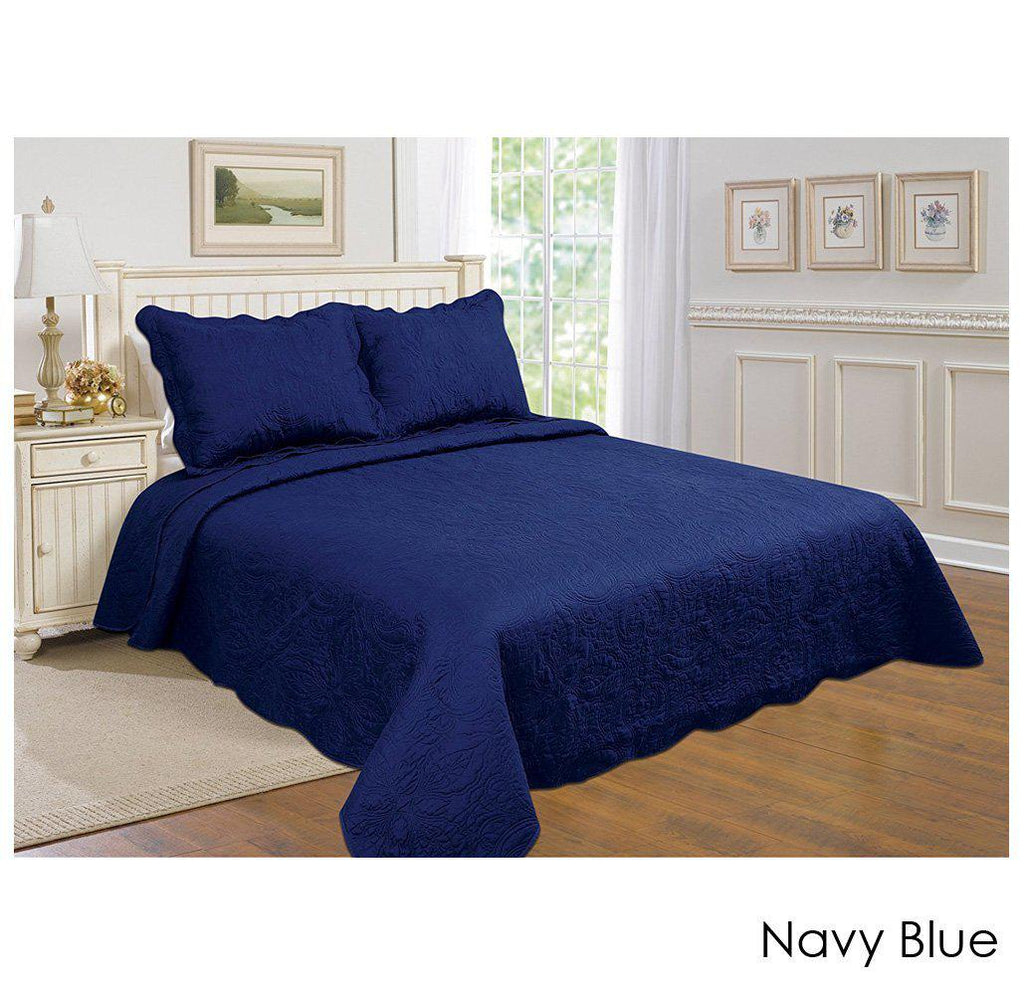 [3-Piece] Cotton and Microfiber Quilt Set with Pillow Shams-Navy Blue-Twin-Daily Steals