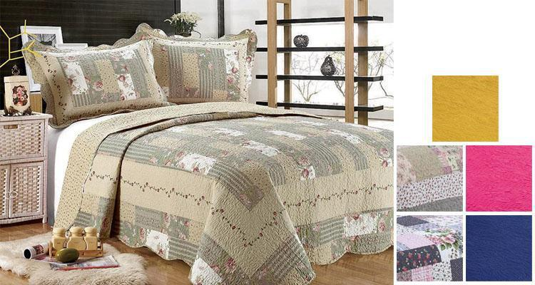 [3-Piece] Cotton and Microfiber Quilt Set with Pillow Shams