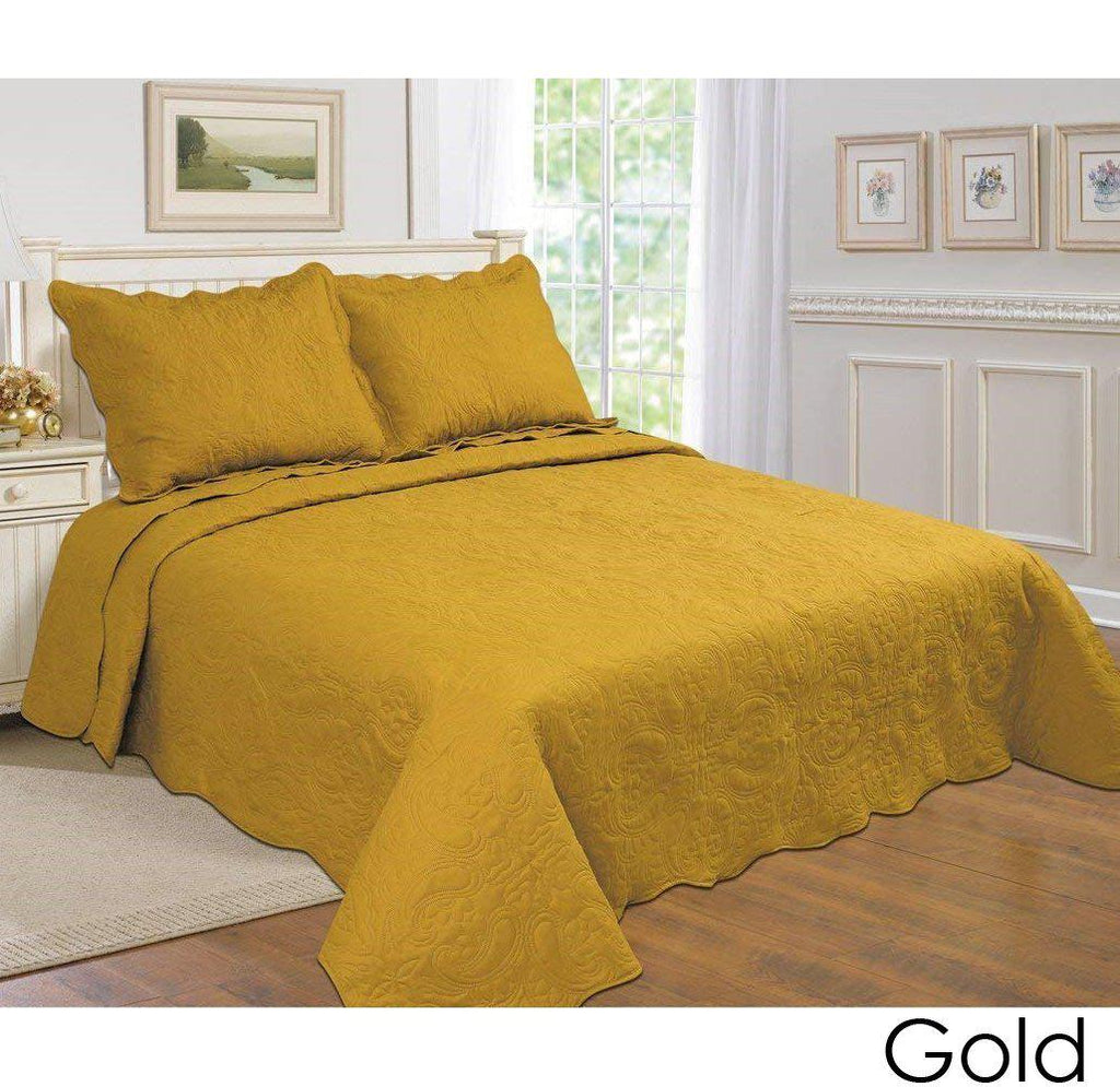 [3-Piece] Cotton and Microfiber Quilt Set with Pillow Shams-Gold-Full-Queen-Daily Steals