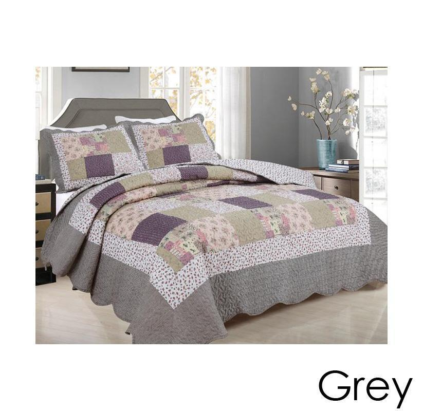 [3-Piece] Cotton and Microfiber Quilt Set with Pillow Shams-Grey-Full-Queen-Daily Steals