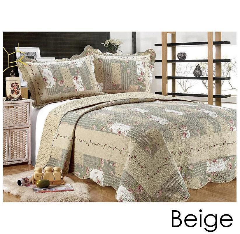 [3-Piece] Cotton and Microfiber Quilt Set with Pillow Shams-Beige-King-Daily Steals