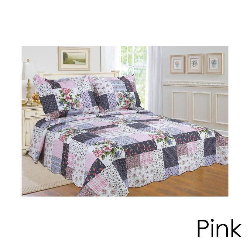 [3-Piece] Cotton and Microfiber Quilt Set with Pillow Shams-Pink-King-Daily Steals