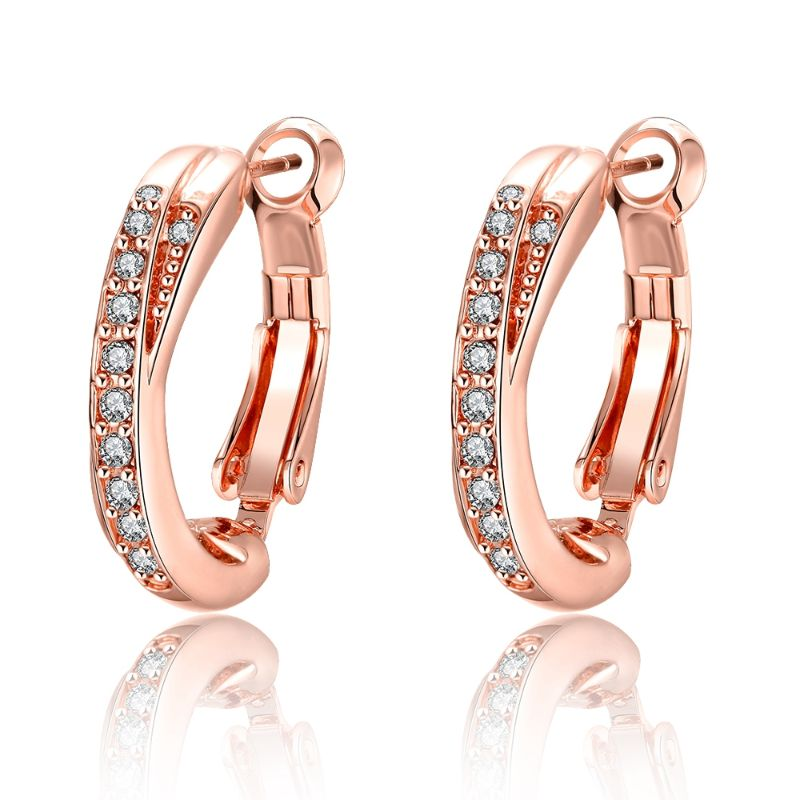 Hoop Huggie Earrings Made with Swarovski Crystals, 18K Rose Gold Plated-Daily Steals