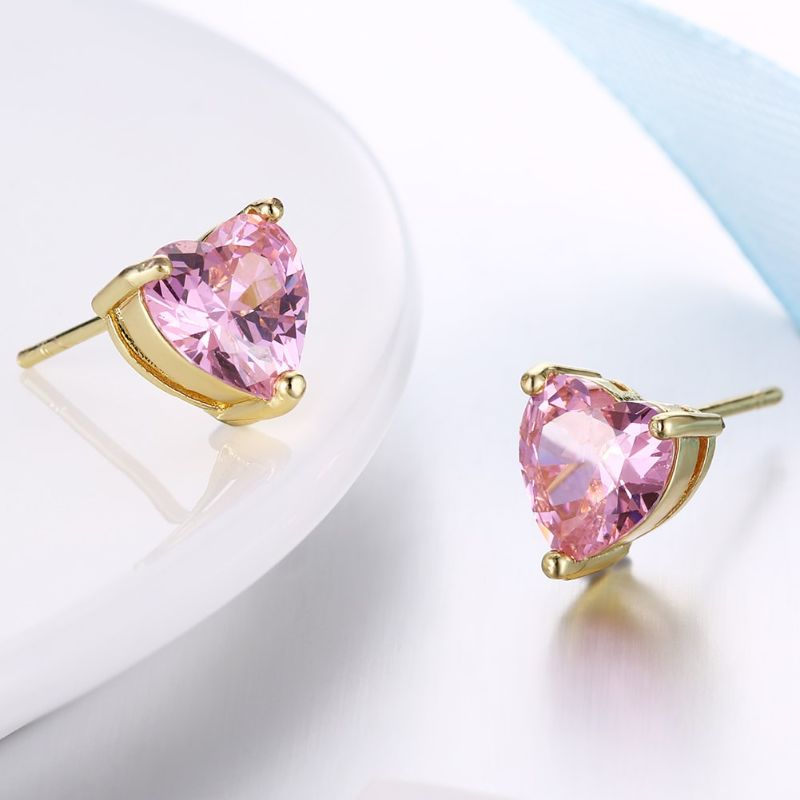 Pink Topaz 1.00 Ct Swarovski Crystal Stud Earrings Plated in 18K Gold-Daily Steals