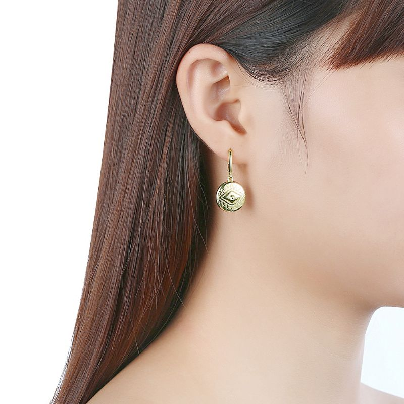 Evil Eye Protection Drop Earrings Plated in 18K Gold-Daily Steals