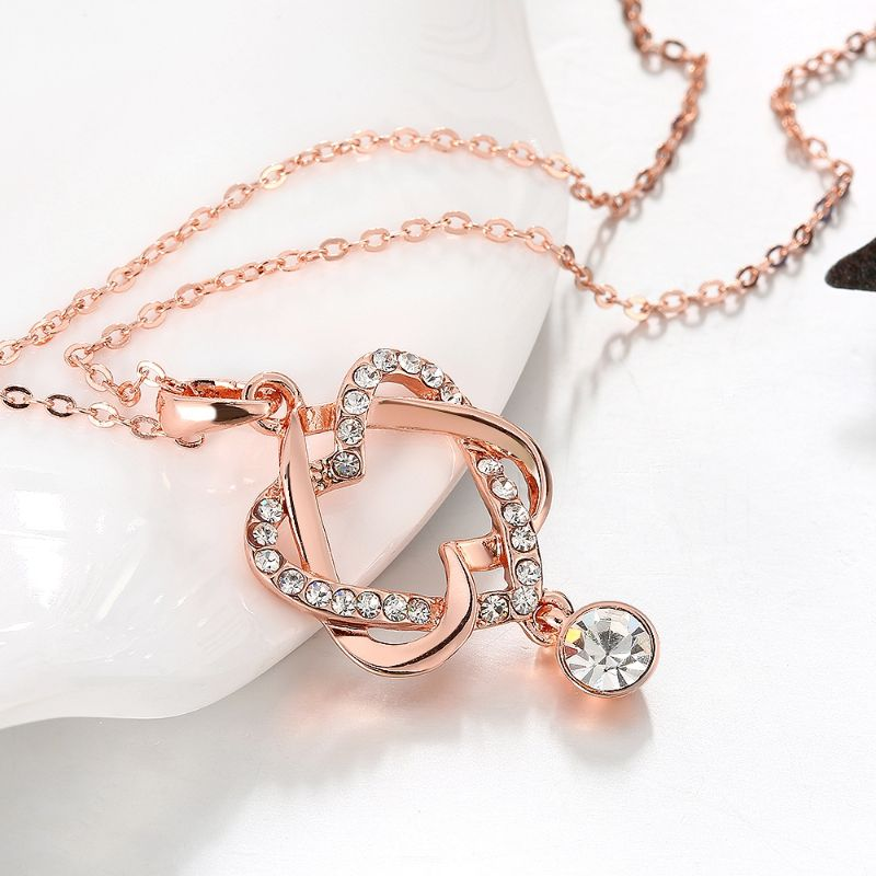 Double Heart Necklace Made with Swarovski Crystal and Plated in 18K Rose Gold-Daily Steals