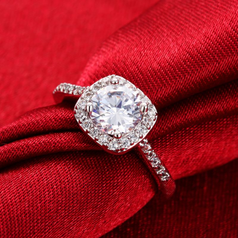 2.00 Ct Classic Pave Halo Ring Made with Swarovski Crystals-Daily Steals