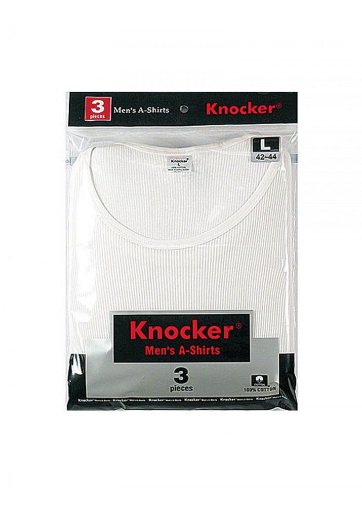Knocker Men's 100% Cotton White A-Shirts - 6 Pack-Daily Steals