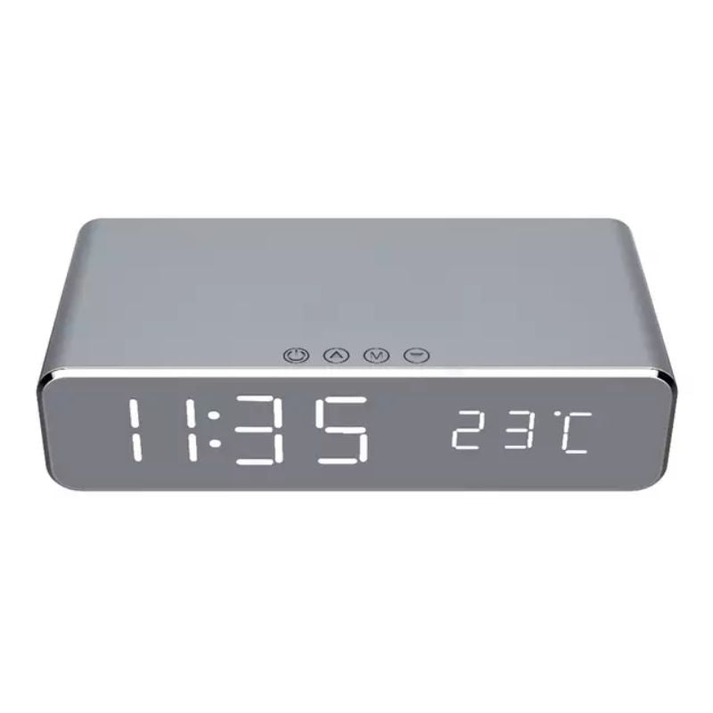 Wireless Charging Digital Alarm Clock-Silver-Daily Steals