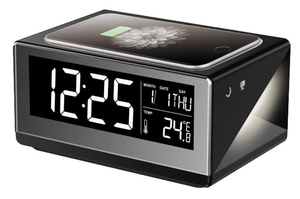 Boytone Fast Wireless Charging Digital Alarm Clock-Black-Daily Steals