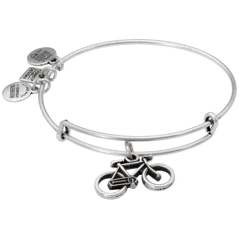 Alex And Ani Bike Charm Rafaelian Silver Finish Bangle Bracelet CBD14BKRS-