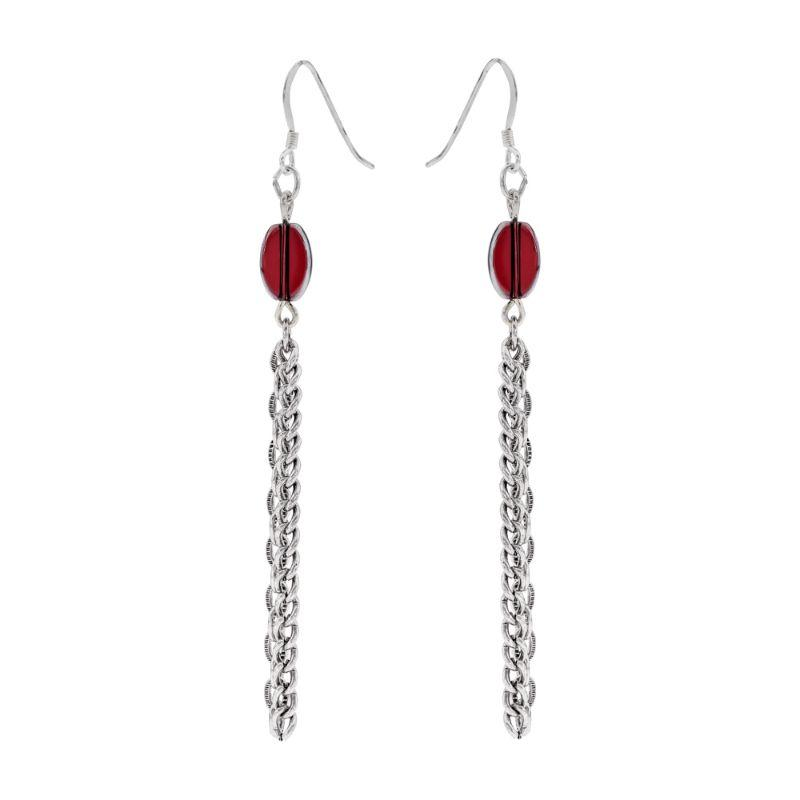 Alex And Ani Crimson Drop Chain Plum Earrings A17ECPRS-