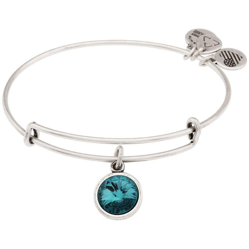 Alex And Ani December Birthstone Charm Rafaelian Silver Finish Bangle Bracelet A12EB251RS-