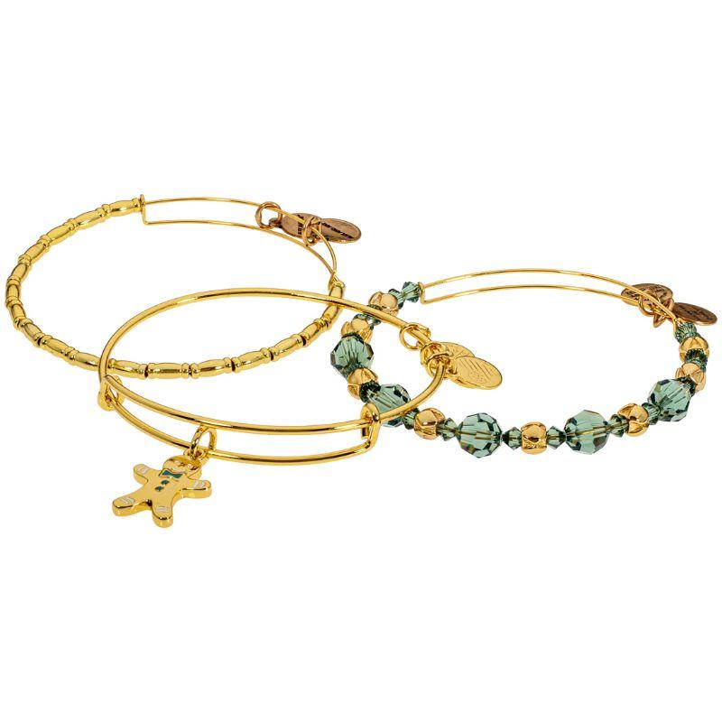 Alex And Ani Gingerbread Man Set of 3 Two Tone One Size Bracelets A17SETGMSG-