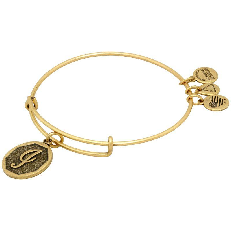 Alex And Ani Initial I Charm Rafaelian Gold Finish Bangle Bracelet A13EB14IG-