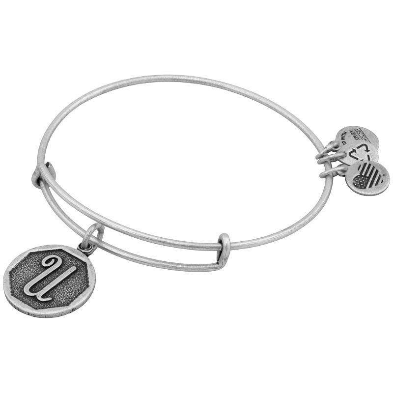 Alex And Ani Initial U Charm Rafaelian Silver Finish Bangle Bracelet A13EB14US-