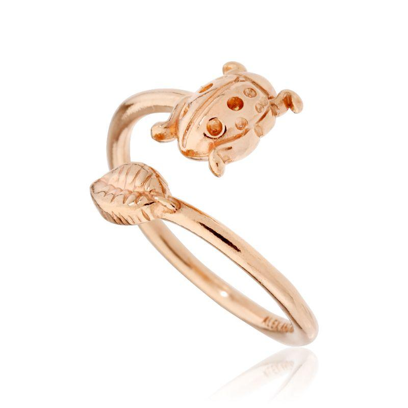 Alex And Ani Ladybug Expandable Ring Wrap 14Kt Rose Gold Plated A16RW03R-
