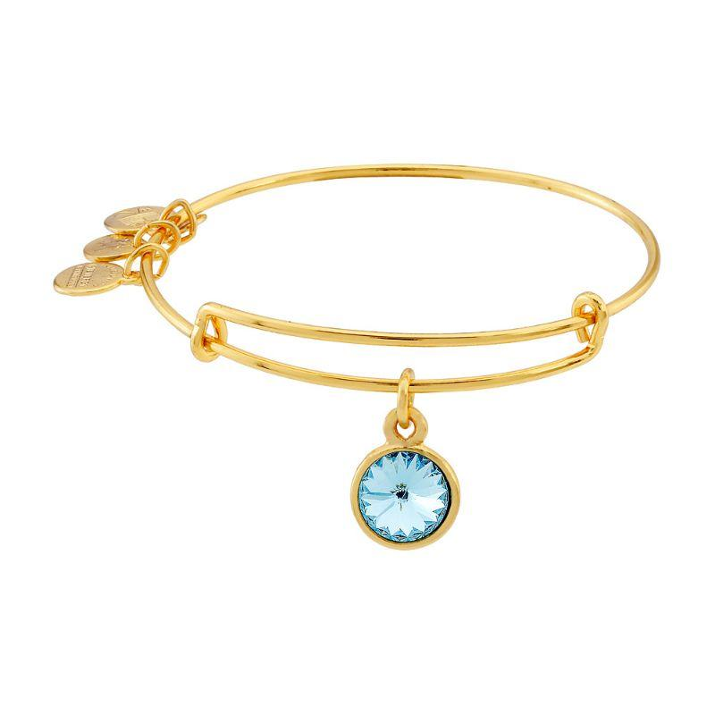 Alex And Ani March Birthstone Gold Expandable Bangle Bracelet A09EB242G-