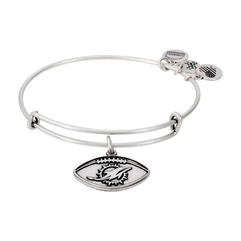 Alex And Ani Miami Dolphins Football Charm Silver Bangle Bracelet AS14MD02RS-