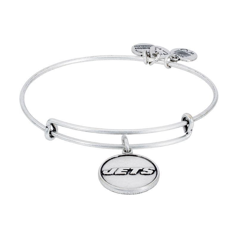 Alex And Ani New York Jets Logo Charm Rafaelian Silver Finish Bangle Bracelet AS13NYJ01RS-