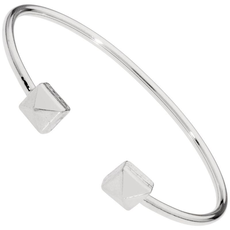 Alex And Ani Pyramid Cuff Silver One Size Bracelet PC18CF06S-
