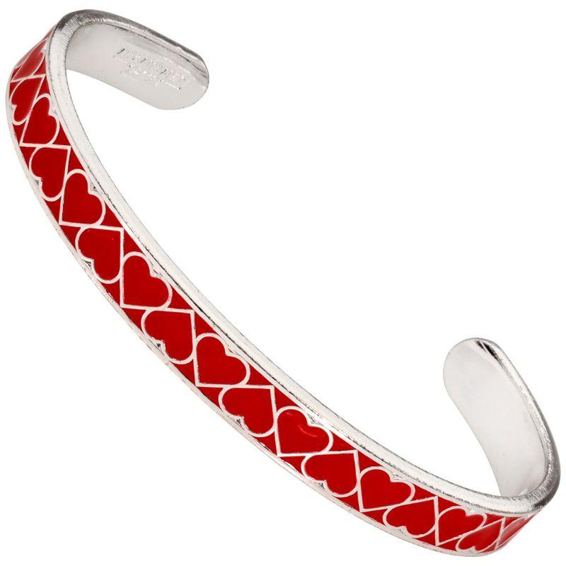 Alex And Ani Red Heart Color Infusion Cuff Shiny Silver Bracelet A18CFH01SS-
