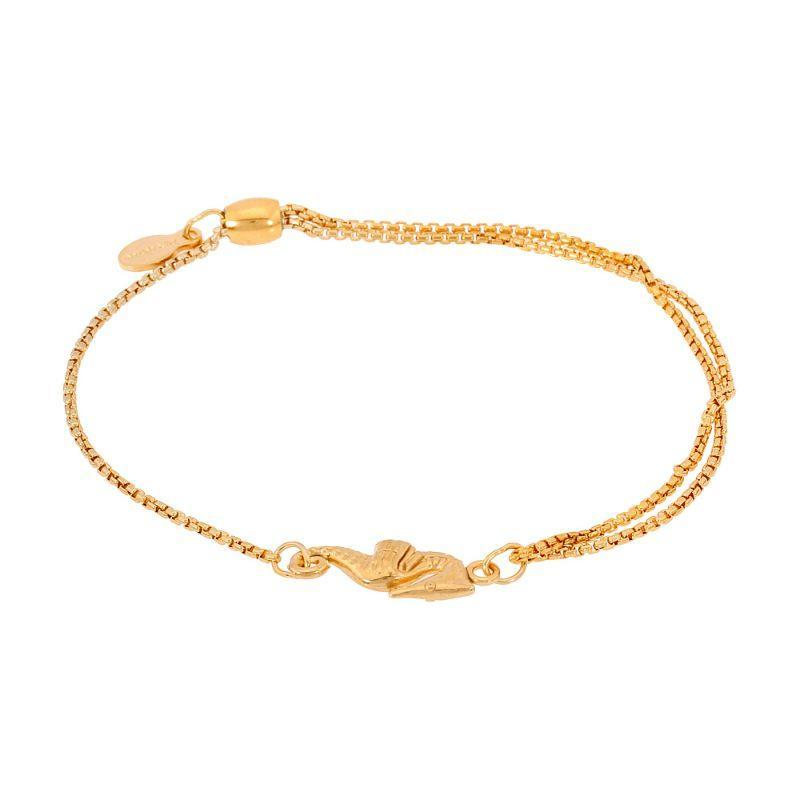 Alex And Ani Seahorse Pull Chain Bracelet 14Kt Gold Plated PC16B03G-