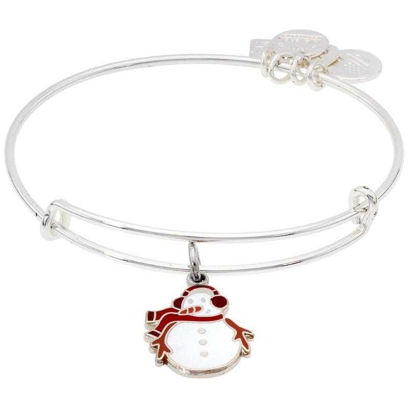 Alex And Ani Snowman Charm Bangle Bracelet Shiny Silver Finish CBD17SMSS-